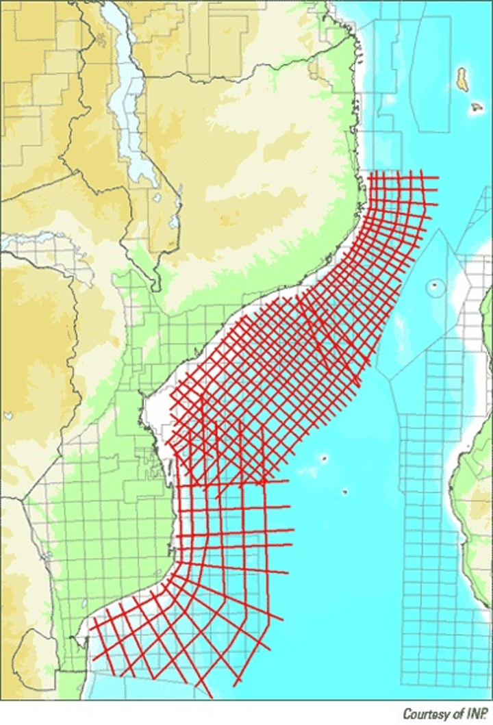 WesternGeco seismic track offshore Mozambique