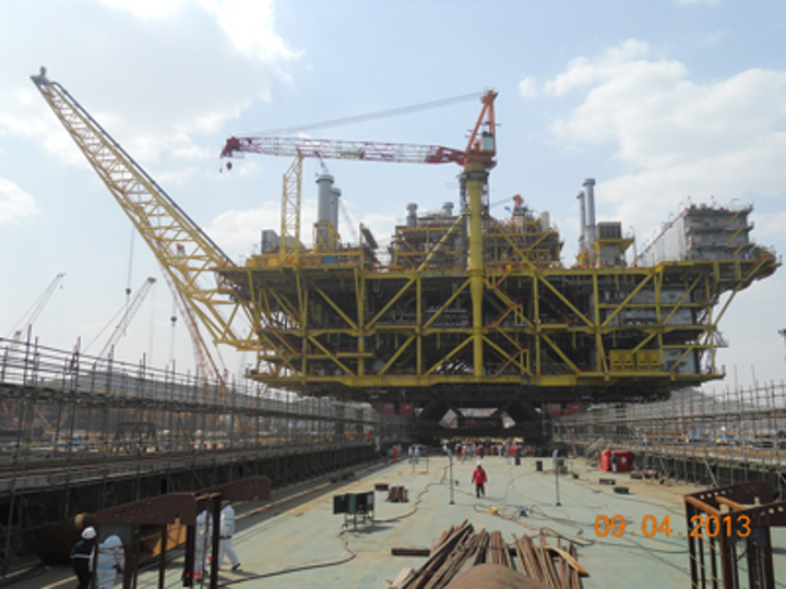 Liwan topsides setting out for installation in South China Sea