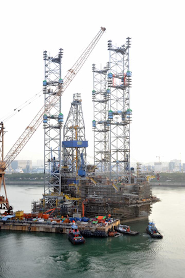Jackup drilling rig in Jurong Shipyard