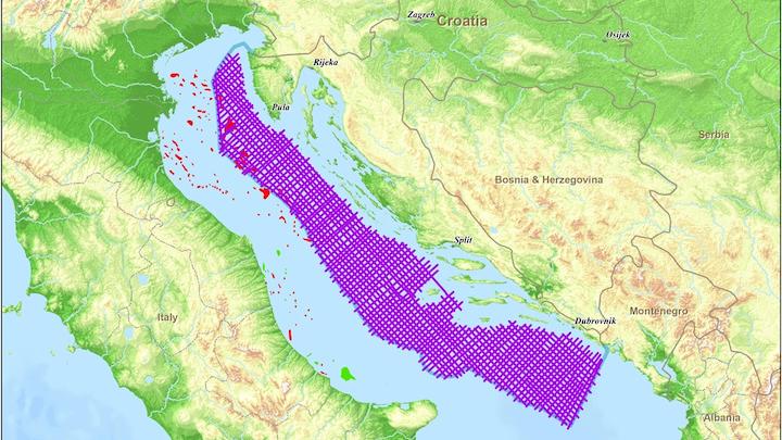Spectrum Geo Ltd.'s 2D seismic survey area offshore Croatia