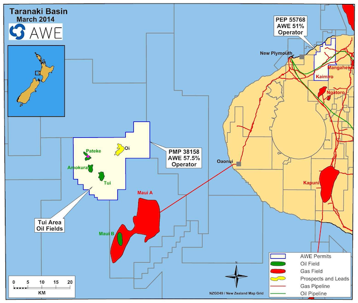 The Pateke-4H well is located in the Taranaki basin offshore New Zealand.