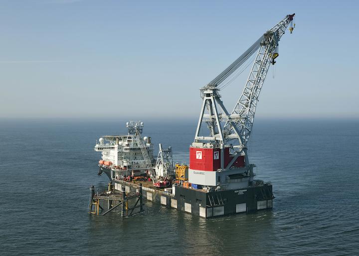 The Oleg Strashnov at work in the North Sea.]