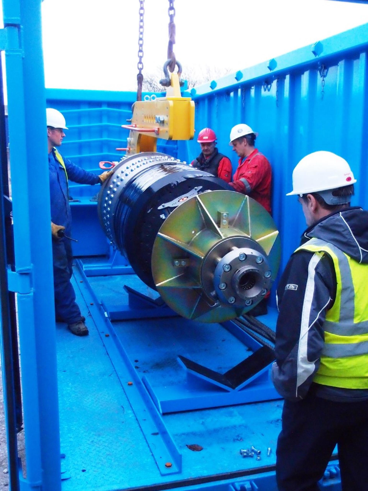 Pipeline recovery tool being loaded into the Suretank container