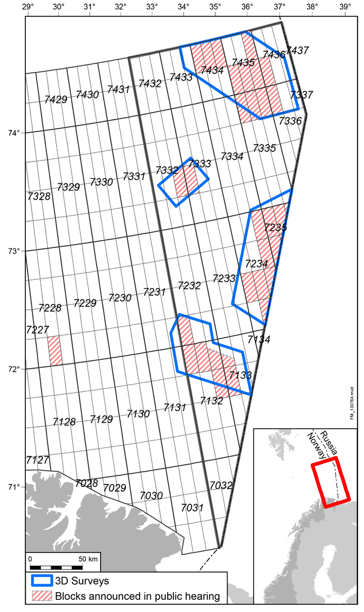 WesternGeco and PGS seismic acquisition area in southeastern Barents Sea