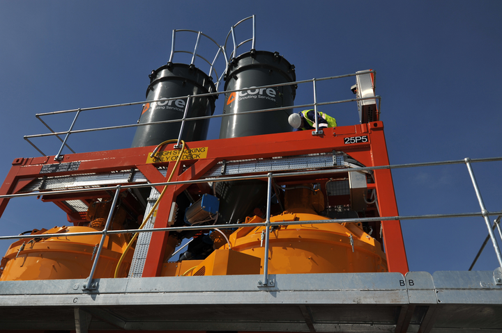 Core Grouting Services has debuted its new high-volume, high-strength grout mixing and pumping unit.