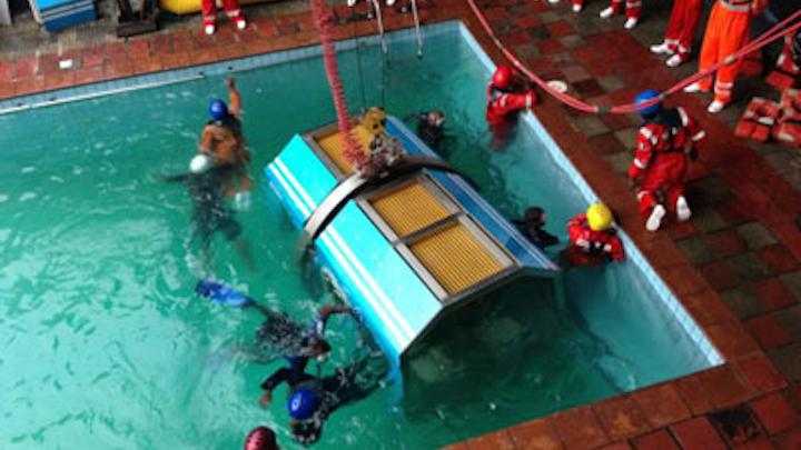 Helicopter underwater escape technique