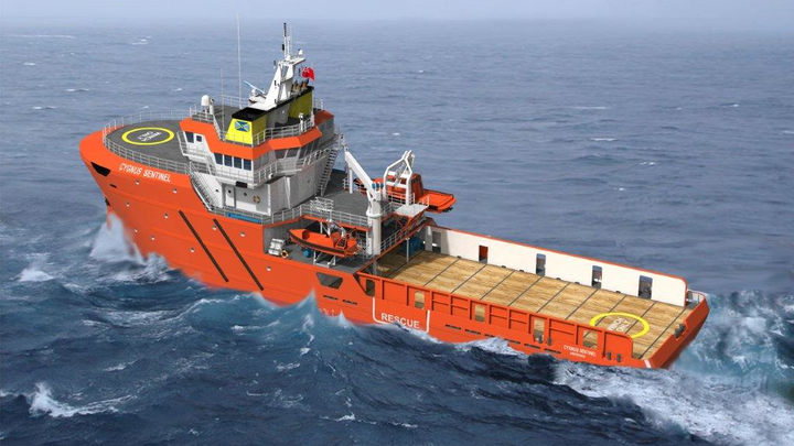 Rendering of Cygnus Sentinel, a new emergency response and rescue vessel, that will operate in the North Sea.