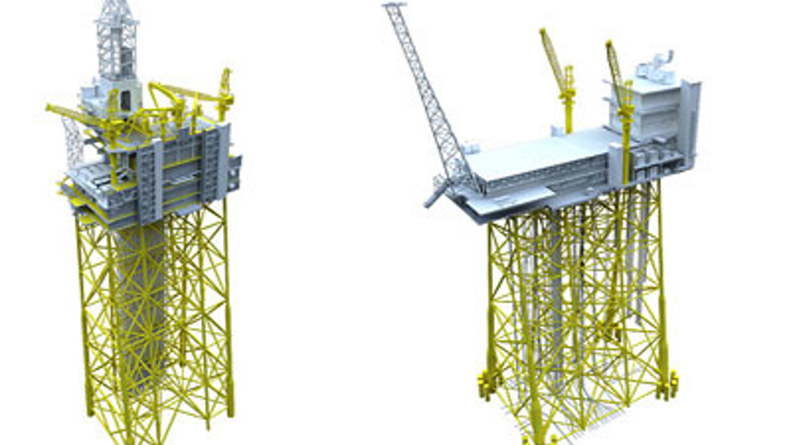 Johan Sverdrup drilling platform and riser platform illustration