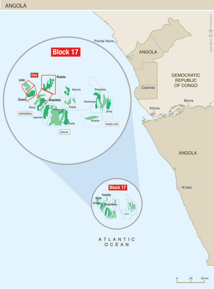 Total is starting up its CLOV development offshore Angola.