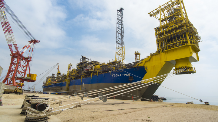 The N'Goma FPSO, shown at quayside in the Paenal shipyard, has sailed for block 15/06 offshore Angola.
