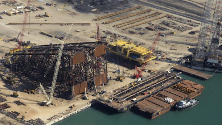 McDermott delivers Ayatsil-B drilling platform to PEMEX from its Altamira fabrication yard. (Photo: McDermott International Inc.)