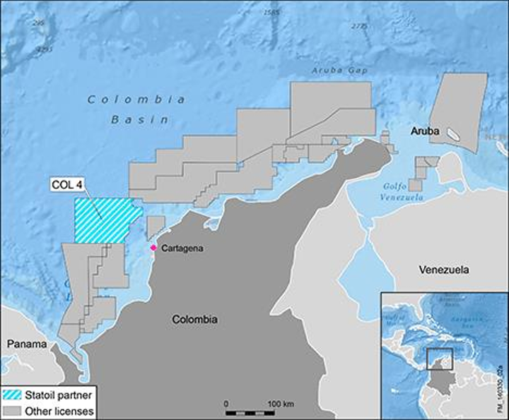 Statoil has been awarded interest in the COL4 license offshore Colombia.