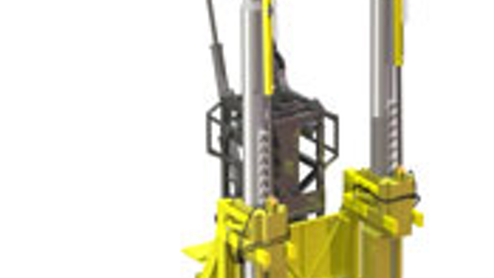The tension frame has a capacity of 350 sT and acts as a work window that follows the rig's movement during coiled tubing operations.