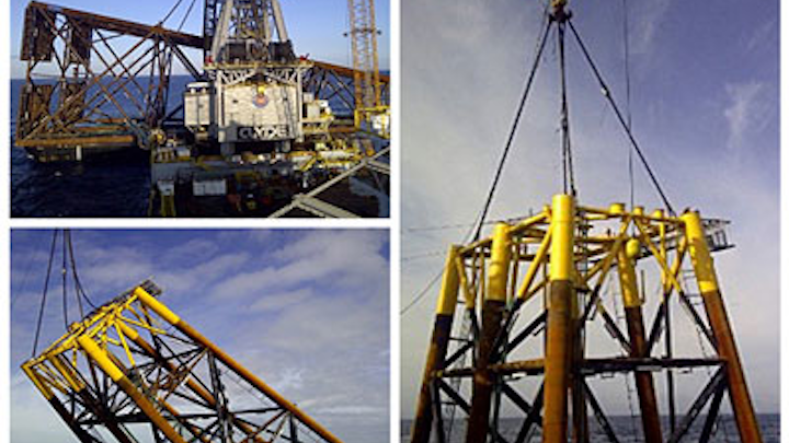 Derrick Barge 50 installed a 3,250-ton jacket in the Gulf of Mexico