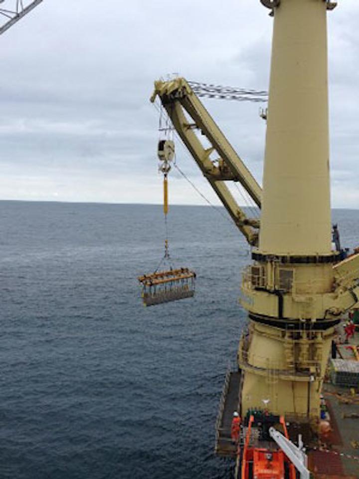 Jumbo's Fairplayer installs new MEG riser offshore South Africa.