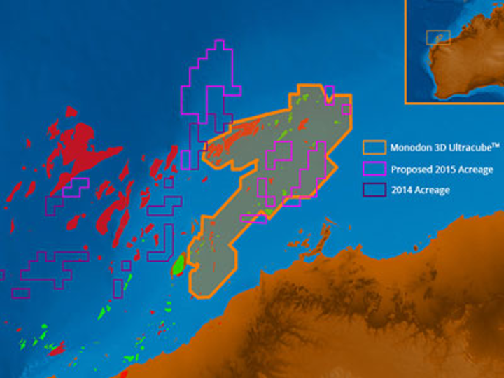Searcher Seismic and DownUnder GeoSolutions Monodon Ultracube reprocessed data offshore Western Australia