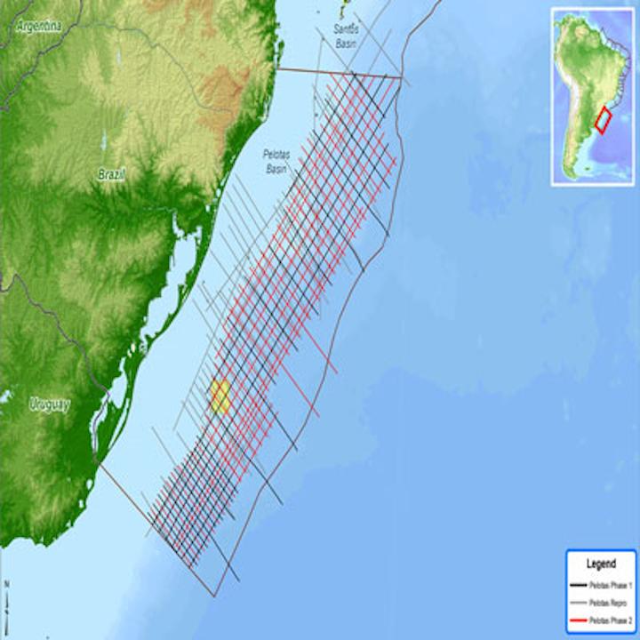 Spectrum's multi-client 2D seismic survey in the Pelotas basin offshore Brazil