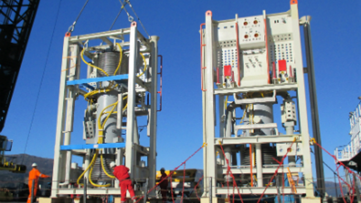 Two multiphase compressor units at the OneSubsea facility in Horsøy, Norway.