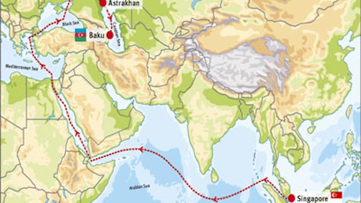 Singapore to Baku route
