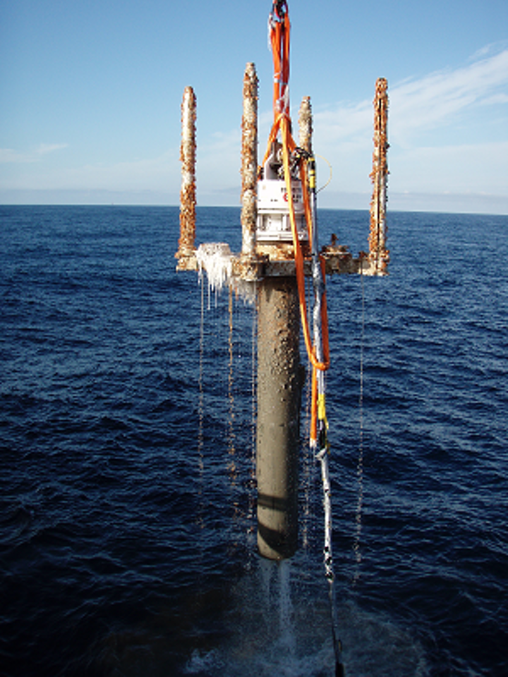 Recovered wellhead from a previous OIS well decommissioning project