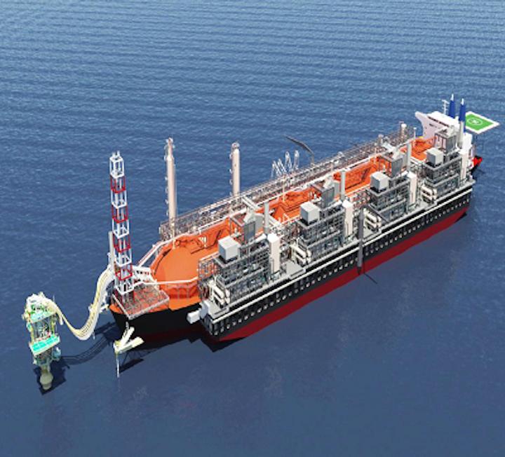 Illustration of Golar Hilli FNLG vessel upon completion.