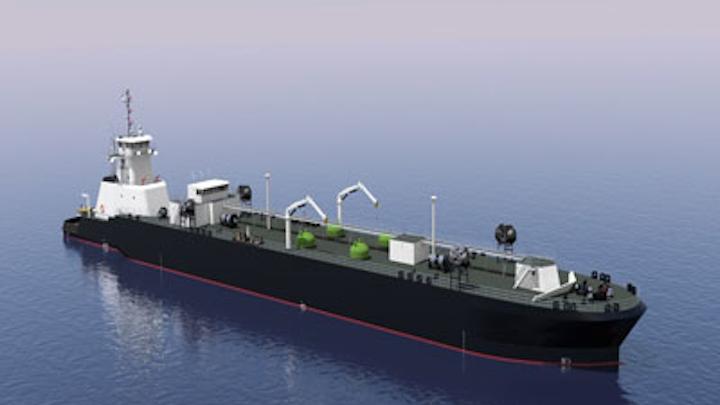 Rendering of Jensen Maritime's articulated LNG tub-barge vessel design