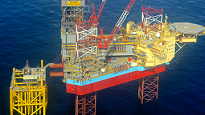 The Maersk Integrator drilling rig on the Gina Krog field in the North Sea.