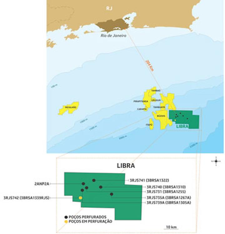 Libra block in the presalt Santos basin offshore Brazil