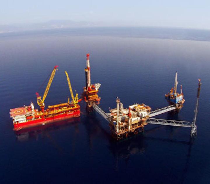 Prinos oil field offshore Greece