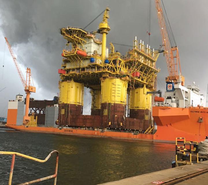 Load-out of the 27,500-ton Malikai TLP