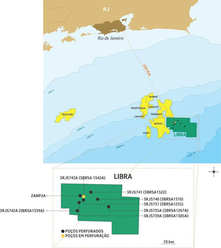 Libra field in the presalt Santos basin offshore Brazil