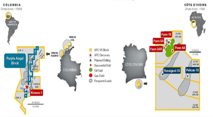 Anadarko operations offshore Colombia, Côte d'Ivoire