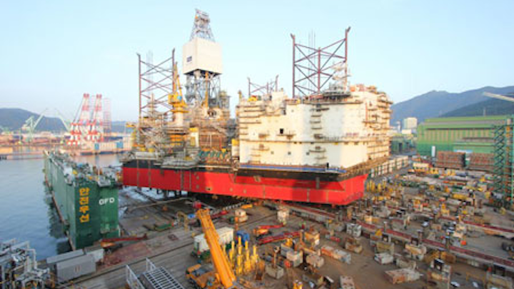 Load-out of the first Cat-J jackup rig at the Samsung Heavy Industries Shipyard in South Korea