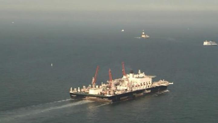 Pioneering Spirit departing Rotterdam