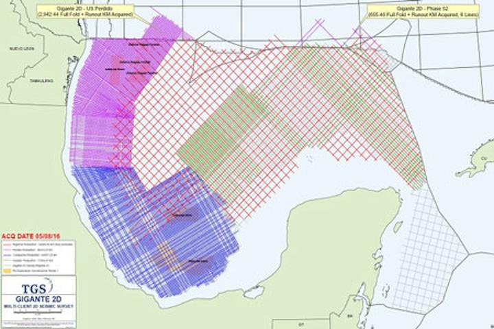 Gigante 2D seismic survey offshore Mexico