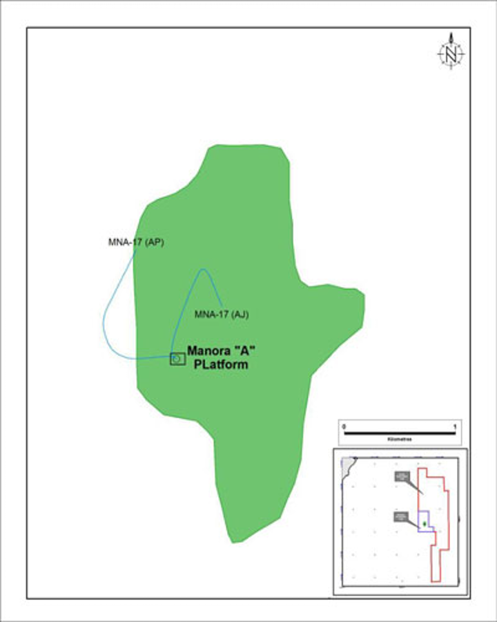Location of well MNA-17 in the Manora oil field offshore Thailand