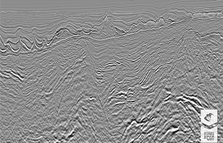 Final Kirchhoff PreSDM image showing a deep presalt half-graben with sediments