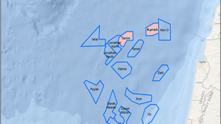 Karish and Tanin natural gas fields offshore Israel