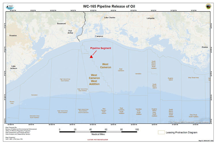 WC-165 pipeline in the Gulf of Mexico