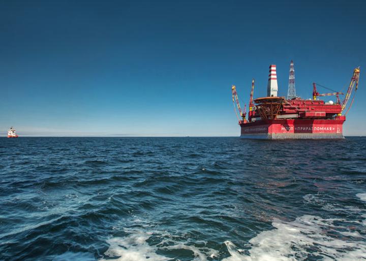 Prirazlomnaya platform at the Prirazlomnoye oil field offshore northern Russia
