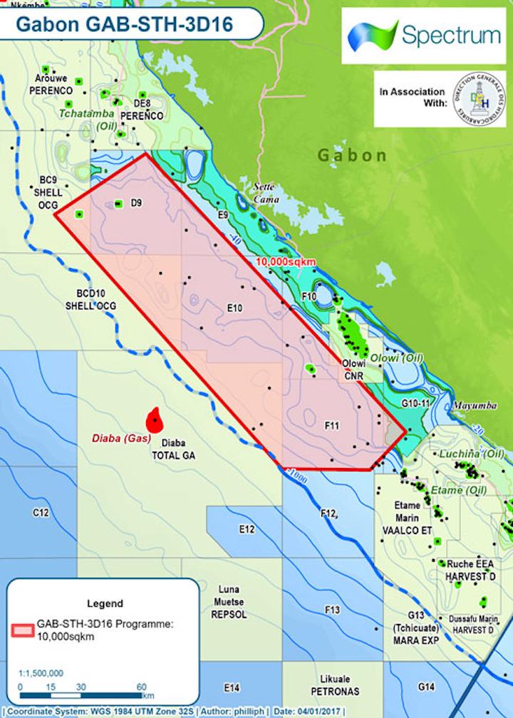 Gryphon 3D seismic survey offshore southern Gabon