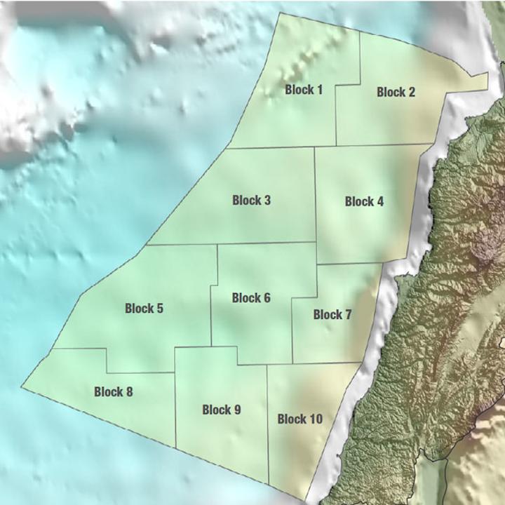 Lebanese Exclusive Economic Zone into 10 blocks