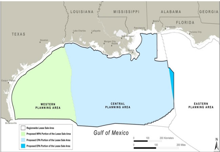 Western, Central, and Eastern Gulf of Mexico planning areas
