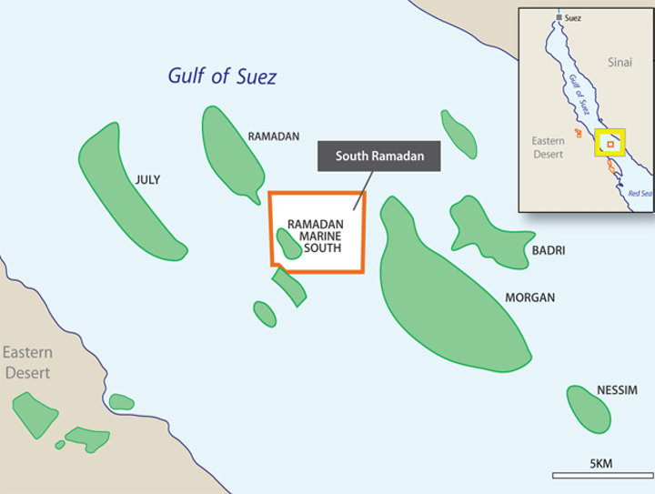 South Ramadan development concession in the Gulf of Suez offshore Egypt