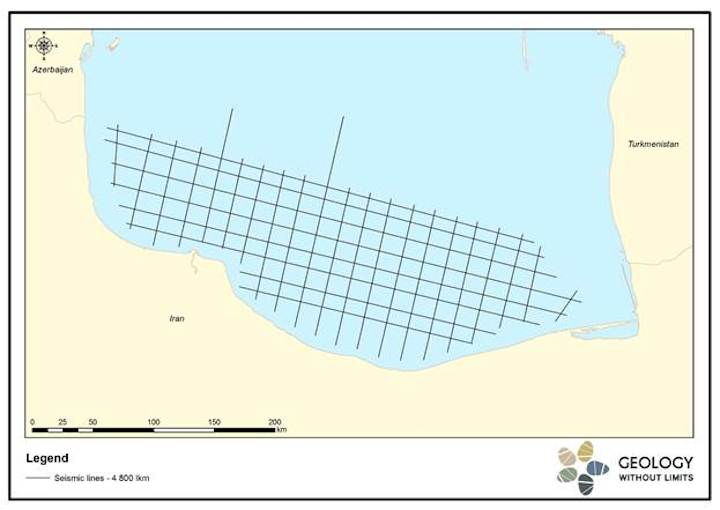 Geology Without Limits 2D seismic, marine gravity, and magnetic data in the Iranian sector of the Caspian Sea