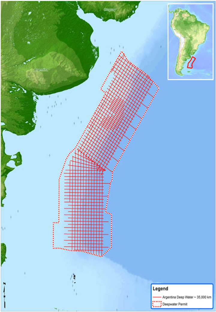 Spectrum multi-client 2D seismic survey offshore Argentina