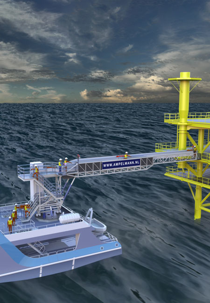 S-type access system for transporting personnel and baggage to and from offshore platforms