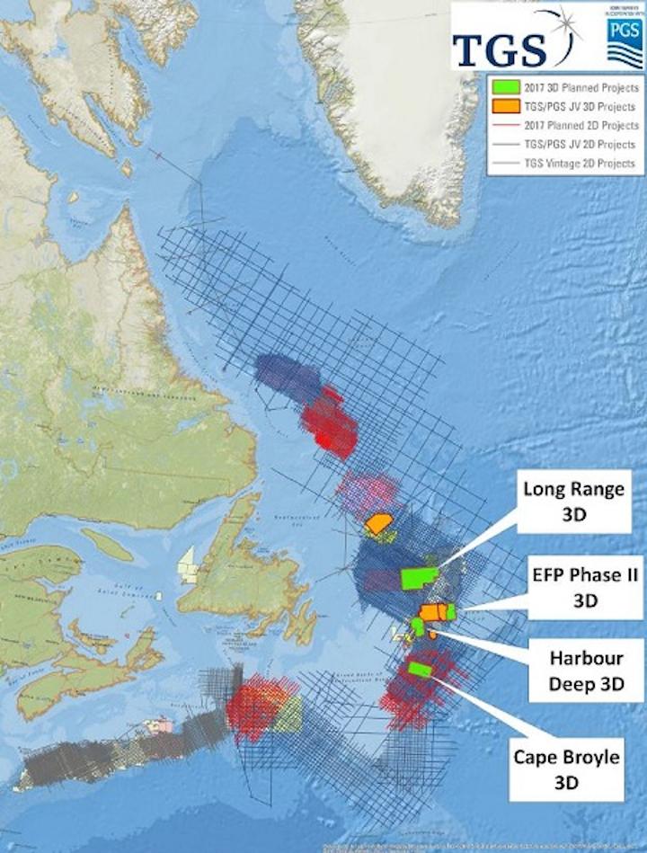 TGS and PGS 3D seismic surveys offshore Newfoundland