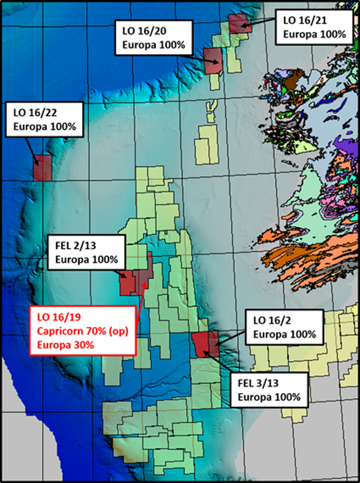 Frontier exploration licenses in the Porcupine basin offshore Ireland