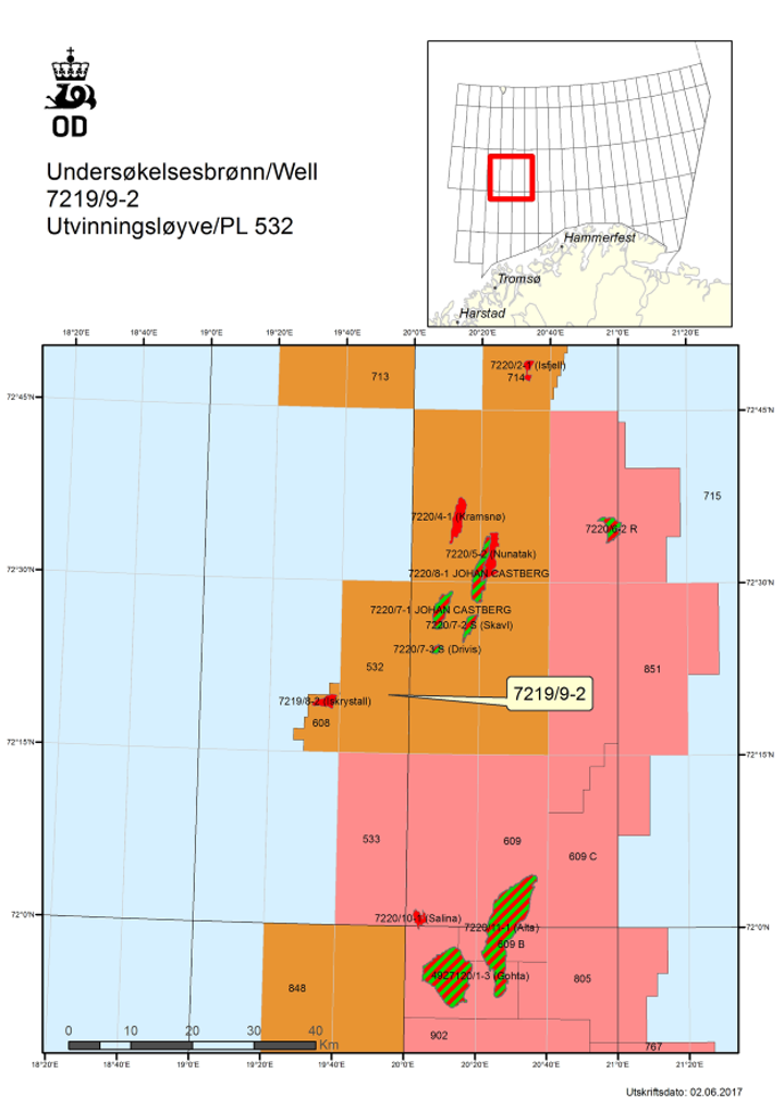 Well 7219/9-2 on production license 532 in the Barents Sea